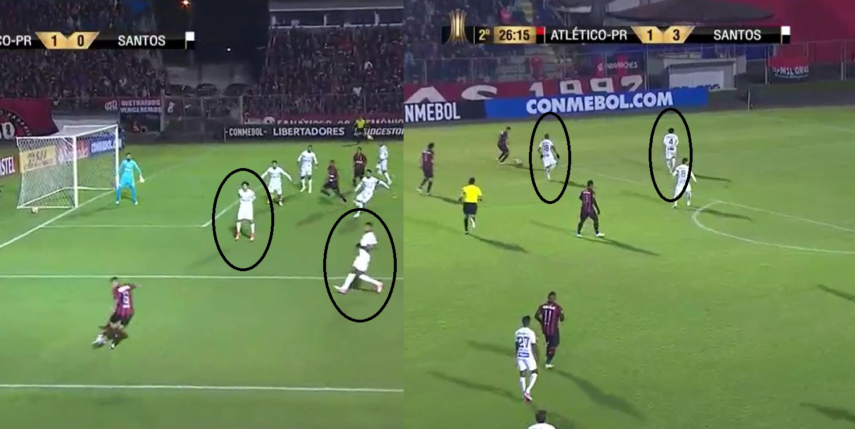 Marcação do Santos contra o Atlético-PR